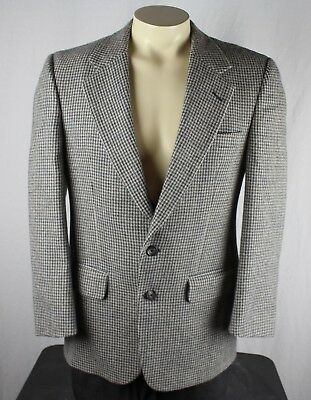 Burberry's Vintage 2 Button Houndstooth Wool Sport Coat Blazer Gray 38R