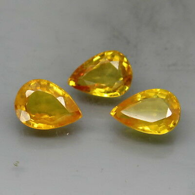 Pear Shape 7x5 mm.Ravishing Color&Full Fire! Yellow Sapphire Africa 3Pcs/2.50Ct.