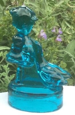 Rare Vintage Blue Depression Glass Goose Girl Float Bowl Centrepiece Figurine
