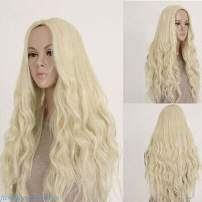 Women Cosplay Long Curly Wavy Hair Wig Light Blonde Heat Resistant Synthetic