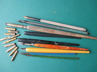 a quantity of old ink dipping pens,and nibs