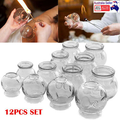 12pcs Glass Cupping Therapy Set Acupuncture Massage Dialproof Vacuum Suction Jar