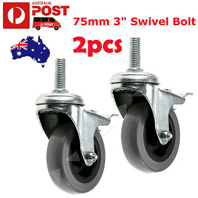 "75mm 3"" Swivel Bolt Hole Brake Castor Wheels Trolley Furniture Caster x2"