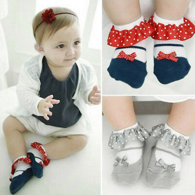 Infant Toddler Baby Girl Anti-slip Socks Lace Cotton Ankle Sock Shoes 1-3 Years