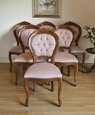 Set of 6 Antique Style Carved Mahogany Upholstered Button Back Dining Chairs