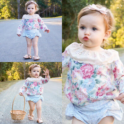 AU Stock Newborn Baby Girl Casual Lace Clothes Floral Tops T-Shirt Blouse Outfit
