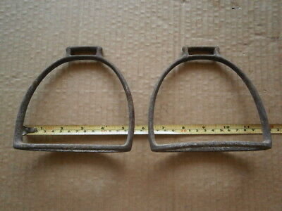 Vintage Cast Iron Stirrups Antique Old Horse Metal