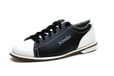 (5 UK, Black/White) - Bowlio Classic - Leather Tenpin Bowling Shoes in black