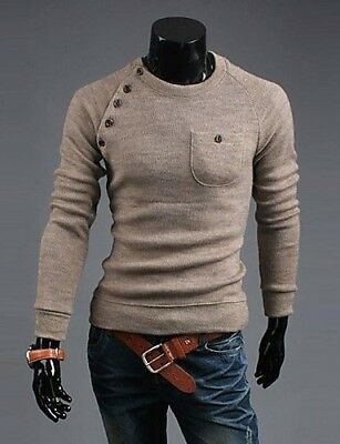 (Beige, Large) - CU@EY Men 's Button Joining Together Solid Colour Fashion
