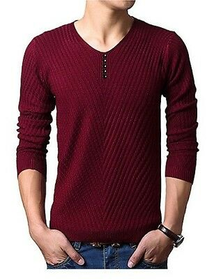 (Wine, Large) - CU@EY Men's Pure Pullover , Polyester Long Sleeve. EYYYZIQ