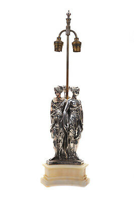"""19th century Fabulous Silver Figural """"Three Graces"""" Table lamps"""