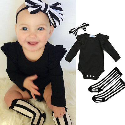 AUSTock Xmas Baby Girl Clothes Romper Striped Socks Leggings Headband Outfit Set