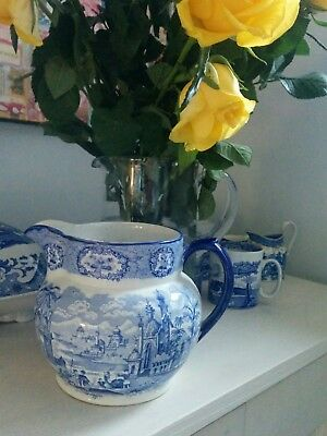 Antique blue and white large jug or pitcher