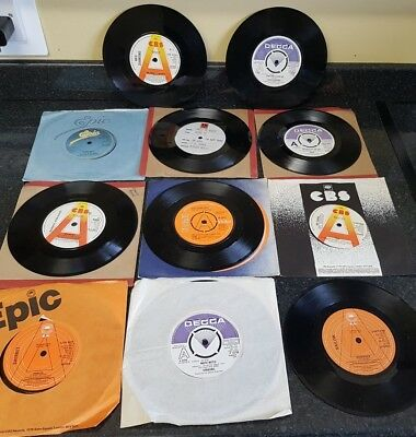 "collection of 7"" vinyl record promo singles 70's 80's pop rock demo DJ"