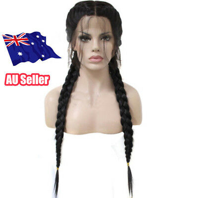 26 inch Braided Lace Synthetic Black Front Wig Baby Hair Long Straight Wigs BO