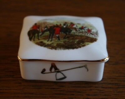 Equestrian HAMMERSLEY Hunt Scene China Pill Trinket Box Excellent