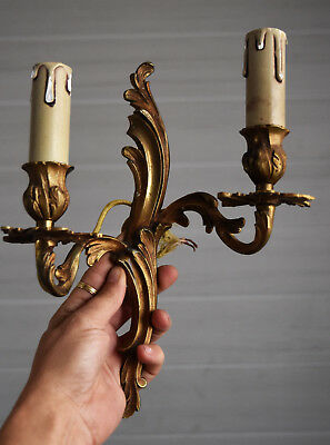 antique / vintage French wall sconce light lamp bronze
