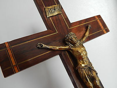 vintage wall cross, crucifix ,wood & metal christ