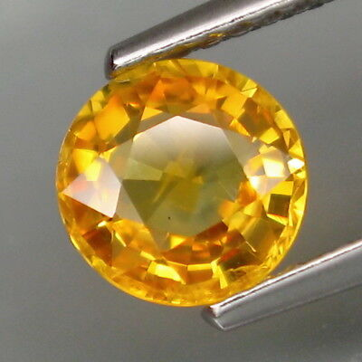 1.35Ct.Ravishing Color! Natural Yellow Sapphire Africa Round 6.5mm.Good Luster!