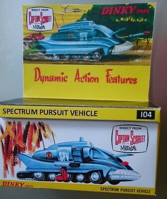 Dinky toys 104 SPV Gerry Anderson Repro box /diorama tray & instruction leaflet
