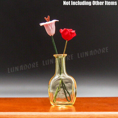 1:12 Miniature Glass Yellow Vase Flower Pitcher Jug Art Bottle Dollhouse Decor
