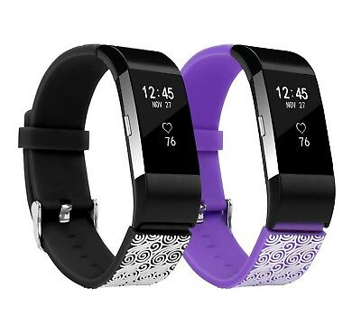 (2-Pack Black & Purple, Large(17cm  - 23cm )) - Fitbit Charge 2 Band,