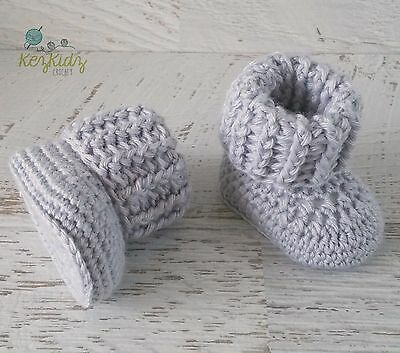 Newborn Grey Crochet Knitted Baby Booties Shoes Socks / Pregnancy Announcement