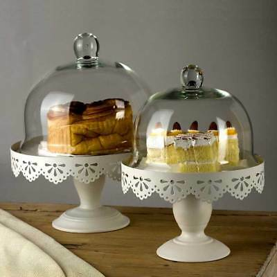 Metal Cake Stand With Clear Glass Dome Cover Cupcake Dessert Display Rack White