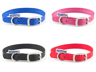 Ancol Heritage Nylon Dog Puppy Collar Pink Raspberry Blue Red Black Collars