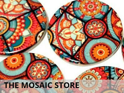 Set of 2 - 5cm Ceramic Patterned Circles | Mosaic Tiles Supplies Art Craft