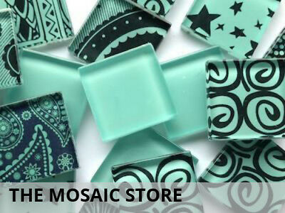 Teal Mixed Handmade Patterned Tiles - Mosaic Art Craft Tiles Supplies