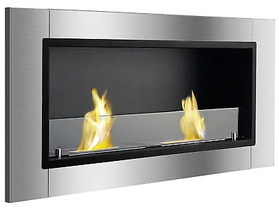 Wall Mount Ethanol Fireplace Recessed Ventless Clean Burning Indoor Silver Black