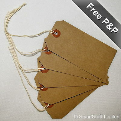 Merit Quality Brown Parcel Strung Tags 70mm x 35mm Tie On Craft Labels