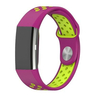 (Yellow+Magenta) - Fitbit Charge 2 Accessory Band, Soft Silicone Sport