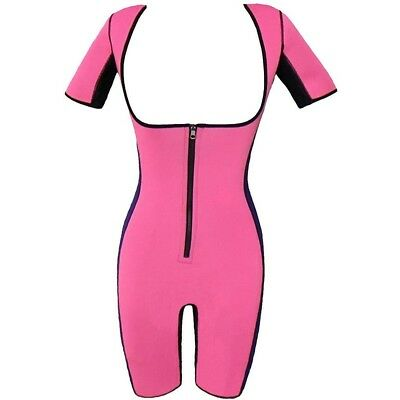 (Pink, UK XXL=Tag 3XL) - Women's Neoprene Slimming Body Shapewear Bodysuit
