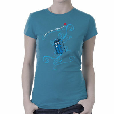 Dr Who Tardis I Blew Into This World On A Leaf Women's T-Shirt