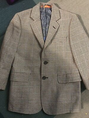 TALLIA HoundsTooth Silk Wool Blazer Sport Jacket Coat Boys Dress Size 7
