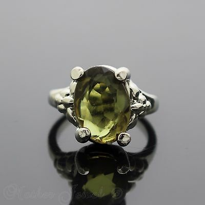 14Mm Peridot Green Sterling Silver Sp Cocktail Dress Womens Ring Size - 7 N