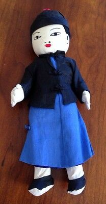 "Antique Japanese Hand Made Boy Cloth Doll Traditional Dress 11.5"" Asian"
