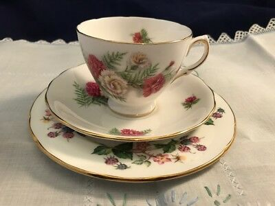 Vintage Mismatched Shabby Chic Trio - Royal Vale Cup & Saucer, Crown Trent Plate
