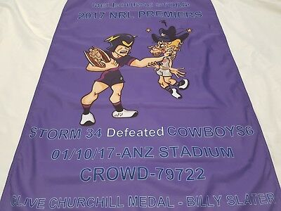 Melbourne storm 2017 premiers wall banner flag  nrl rugby league
