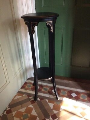Vintage Black Painted Gothic Style Plant Stand
