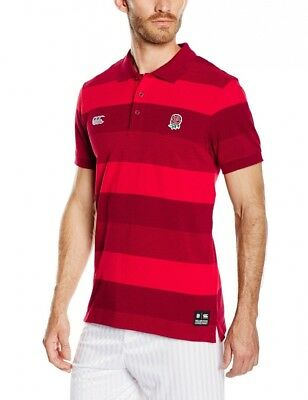 (Small, Red) - Canterbury Men's England Textured Striped Polo T-Shirt