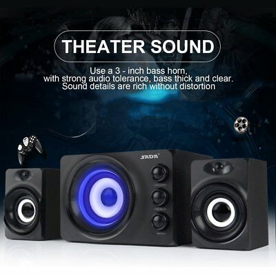 SADA DC5V Stereo PC Computer Desktop Speaker With Blue Atmosphere Light LOT IL