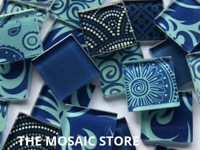 Handmade Blue Glass Mosaic Tiles 2.5cm - Supplies Art Craft