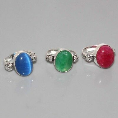 J8987  Monalisa, Emerald, Ruby & 925 Silver Overlay Ring Lots US 8 To 8.7