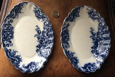Two Antique Flo Blue And White Oval Dishes, Smith & Binnal, Tunstall 1897.ashley