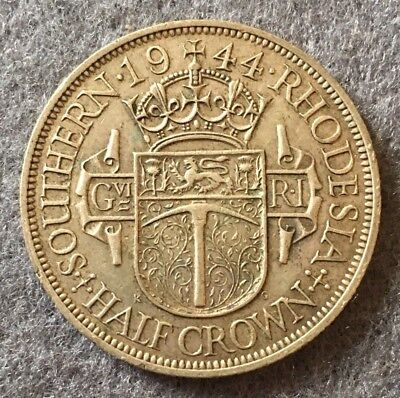1944 SOUTHERN RHODESIA HALF CROWN .500 SILVER COIN mintage 800,000 (5770)