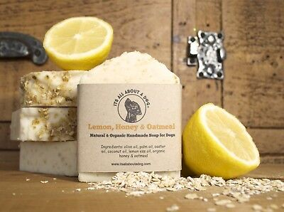 Lemon, Honey & Oatmeal Soap Bar For Dogs Natural Organic Dog Shampoo Soaps Bars
