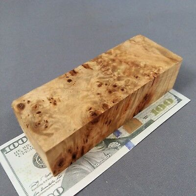 Burl WOODen Poplar Cottonwood Block Blank Knife Handle Scale Pistol Grip № 78